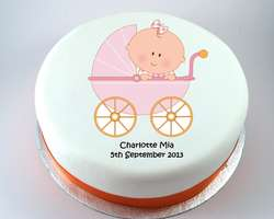 Pink Baby Carriage Cake