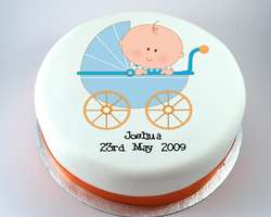Blue Baby Carriage Cake