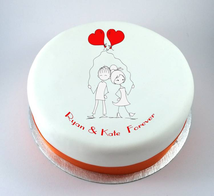 happy valentine's day chocolate cake - Boy & Girl with Heart Balloons Cake