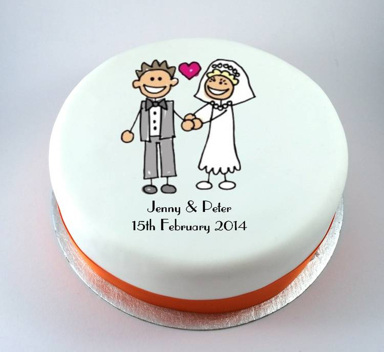 Bride Amp Groom Stick People Cake Kiss Cakes