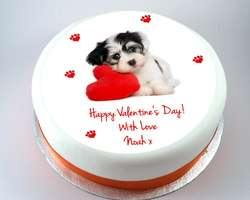 Dog with Heart Cake