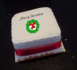 Mini Cake with Edible Christmas Theme Topper