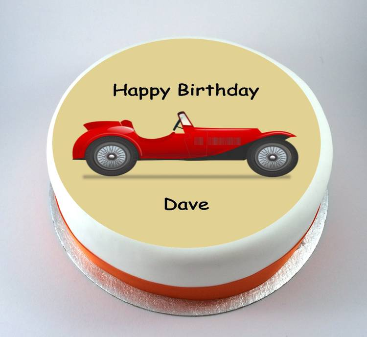 happy valentine's day chocolate cake - Vintage Sports Car Cake